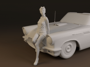 1/43 & 1/24 Pin-up girl on car – 3D renders