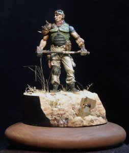 54mm vignette with Post-Nuclear Raider with Hammer