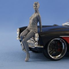 1/24 Pin-Up resin figure Girl sitting on the hood (unpainted)