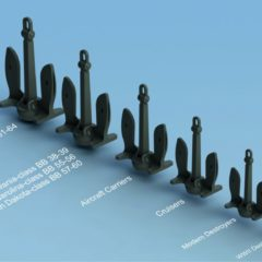 1/350 Set of US Navy Stockless Anchor (6 types, 24 pcs. total).