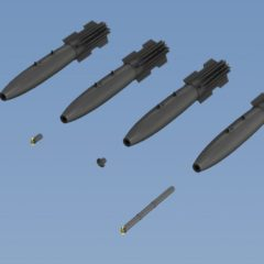 1/72 Set of 6 Mk-82  Snakeye bomb with Mk15 Mod IV Fin, 4 different nose Decal