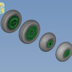 1/72 Wheels and tyres set for Ka-27 Ka-32 Soviet Russian Helicopters – No mask