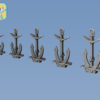 1/350 Classic stock Hall anchor (5 sizes x 10 pcs, total 50pcs)