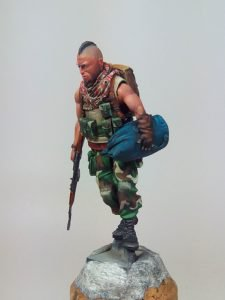 Painted 54mm Post Nuclear Raider with AK-74