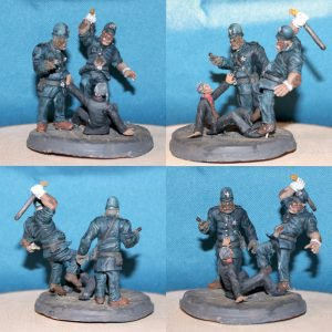 Painted 54mm Orc cops in action