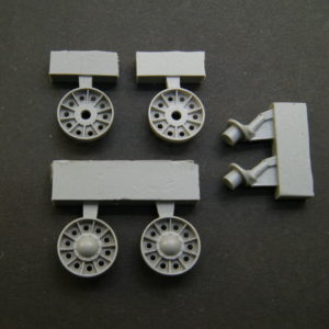 1/35 T-34 SU 1943/1945 Idler Wheels (late, type 2) without rubber bandage, rims with reinforcement rings around the holes  + cranks set.